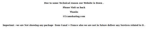 Le message vu sur cccamsharing.com